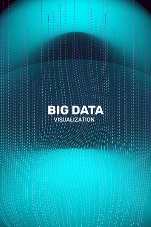 Big Data Visualization. 3D Futuristic Information. Big Data Stream Infographic. Technology Visual Background. Digital Analytics. Business Information. Connection Complex. Vector Network Visualization. Illustration