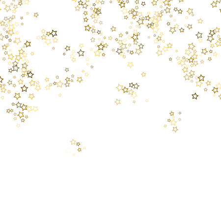 Gold Glitter Stars. Luxury Shiny Confetti. Scattered little sparkle. Flash glow silver, elements. Random magic tiny light. Gold stellar fall white background. New Year, Christmas Vector illustration. Ilustrace