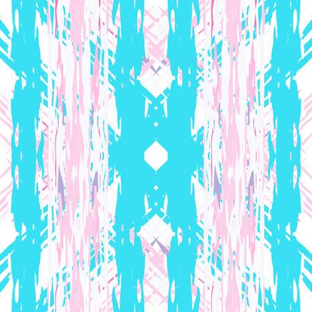 Ikat batik print modern style, shibori fabric design. Tribal embroidery ethnic seamless pattern. Vintage endless repeat ornament. Traditional folk ikat surface. Vector watercolor geometric background.