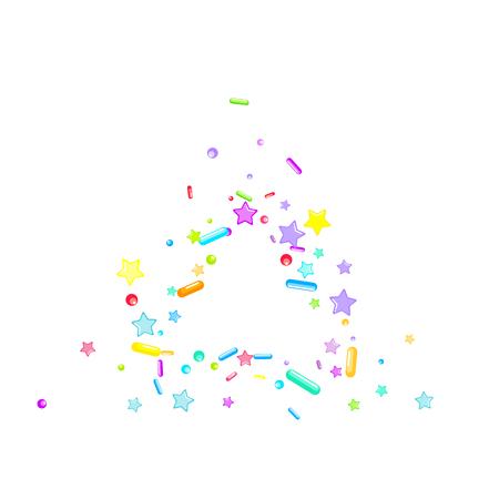 Sprinkles grainy. Cupcake donuts, dessert, sugar, bakery background. Sweet confetti on white chocolate glaze background. Vector Illustration sprinkles holiday designs, party, birthday, invitation. Illustration
