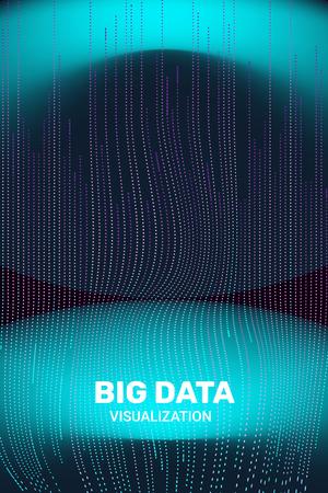 Big Data Visualization. 3D Futuristic Information. Big Data Stream Infographic. Technology Visual Background. Digital Analytics. Business Information. Connection Complex. Vector Network Visualization.  イラスト・ベクター素材
