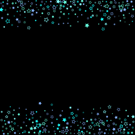 Blue, cyan, turquoise glitter stars, shiny confetti. Scattered little sparkling, glitter elements. Random stellar falling on black background. New Year Christmas background. Vector illustration. Ilustração