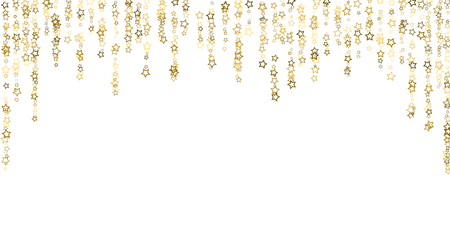 Gold Glitter Stars. Luxury Shiny Confetti. Scattered little sparkle. Flash glow silver, elements. Random magic tiny light. Gold stellar fall white background. New Year, Christmas Vector illustration.  イラスト・ベクター素材
