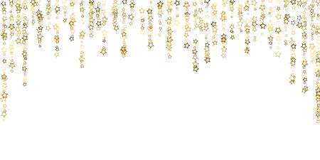 Gouden glitter sterren. Luxe glanzende confetti. Verspreid kleine schittering. Flash gloed zilver, elementen. Willekeurig magisch klein licht. Gouden stellaire val witte achtergrond. Nieuwjaar, Kerstmis Vector Illustratie. Vector Illustratie