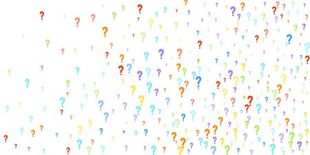 Question marks scattered on white background. Quiz, doubt, poll, survey, faq, interrogation, query background. 写真素材