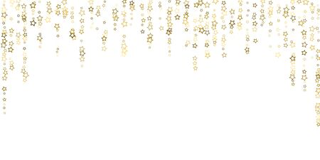 Gold Glitter Stars. Luxury Shiny Confetti. Scattered little sparkle. Flash glow silver, elements. Random magic tiny light.