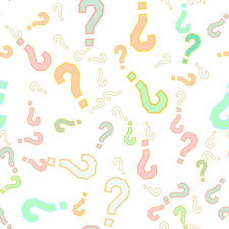 Quiz seamless pattern. Question marks, doubt, faq background. Simple endless repeating motif. Poll, survey, interrogation, query background.