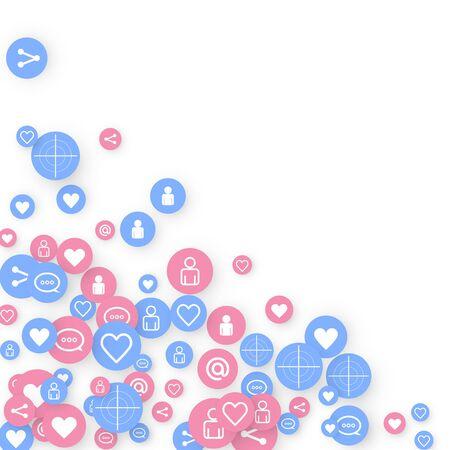 Social Media Marketing, Kommunikationsnetzwerkkonzept. Zufällige Symbole Social Media-Dienste-Tags auf weißem Hintergrund verknüpft. Kommentieren, Freund, Liken, Teilen, Zielen, Nachricht. Vektor-Internet-Konzept.