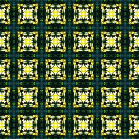 Geo Texture. Hand Drawn Painted. Talavera, Azulejos, Spain, Islam, Arabic Seamless Pattern. Traditional Surface. Folklore Textile. Yellow, Green Element. Organic Surface.