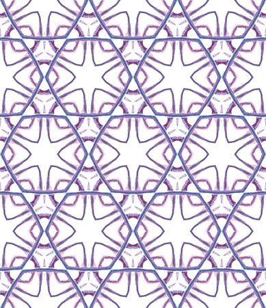 Ethnic Surface. Hand Drawn Painted. Boho, Gypsy, Mediterranean, South Seamless Pattern. Ethnic Surface. Traditional Folk Wallpaper. Purple, Pink Tile. Stripes Art. 免版税图像