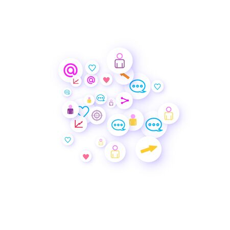 Social media marketing, Communication networking concept. Random icons social media services tags linked on white background. Comment, friend, like, share, target, message. Vector Internet concept. 矢量图像