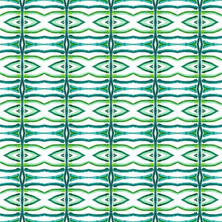 Watercolor Surface. Endless Repeat Painting. African Peru, Mexico, Navajo Ornament. Chevron Geometric. Vintage Embroidery. Blue, Green, Lime, Mint Motif. Herringbone Ornament.