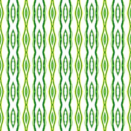 Traditional Art. Hand Drawn Painted. American, Navajo, Cherokee Seamless Pattern. Watercolor Surface. Vintage Wallpaper. Yellow, Green Surface. Herringbone Print. Reklamní fotografie