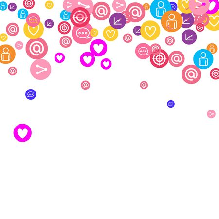 Social media marketing, Communication networking concept. Random icons social media services tags linked on white background. Comment, friend, like, share, target, message. Vector Internet concept. Ilustracja
