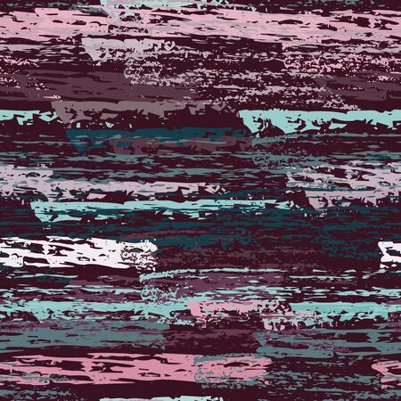 Grunge Stripes Line. Chalk Vector Textures. Seamless Pattern. Stripy Crayon Pencil Strokes. Hand Drawn Pastel. Summer Bright Stripes, Brushes. Horizontal Dirty Pinstripe Endless Repeating Elements. Ilustracja