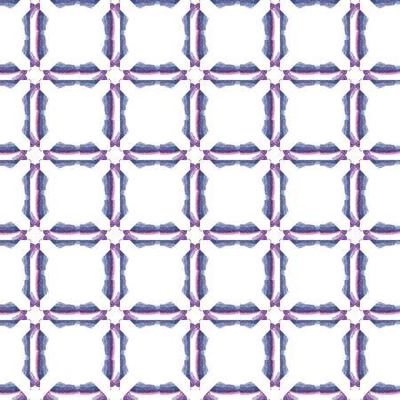 Tribal Texture. Hand Drawn Painted. Portugal, Turkish, Moroccan, Spanish Seamless Pattern. Geo Art. Old Bed Linen. Purple, Pink Motif. Geometric Mosaic.