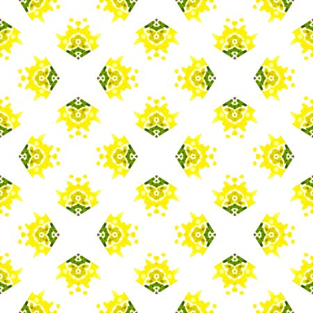 Ethnic Texture. Hand Drawn Painted. Hippie, Boho, Gypsy, Mediterranean Seamless Pattern. Watercolor Surface. Folklore Traditional Textile. Yellow, Green Tile. Ornamental Surface. Zdjęcie Seryjne