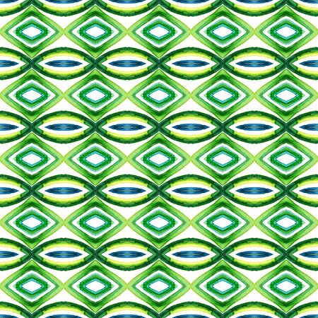 Traditional Graphic Hand Drawn Painted.  Mediterranean, Majolica, Azulejo, Portuguese Seamless Pattern. Ethnic Surface. Modern Linen. Blue, Green  Ornament. Graphic Art.