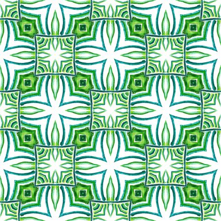 Ethnic Texture. Hand Drawn Painted. Hippie, Boho, Gypsy, Mediterranean Seamless Pattern. Modern Abstract. Modern Summer Canvas. Blue, Green  Motif. Herringbone Tile. Zdjęcie Seryjne
