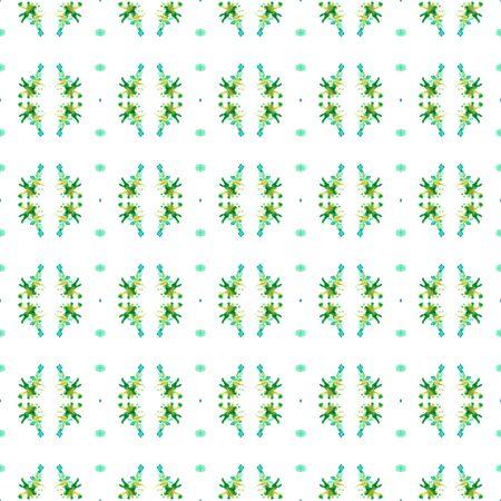 Modern Abstract, Endless Repeat Painting.  Celtic, Polish, Balto-Slavic Ornament. Geo Art. Old Cloth. Blue, Green Design. Stripes Pattern.