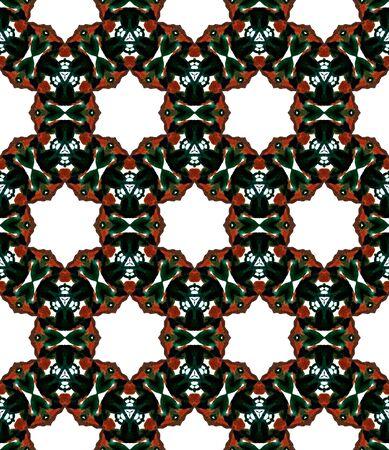 Geo Art. Endless Repeat Painting.  Talavera, Azulejos, Spain, Islam, Arabic Ornament. Modern Abstract. Ancient Bed Linen. Black, Red Tile. Chevron Texture. Zdjęcie Seryjne