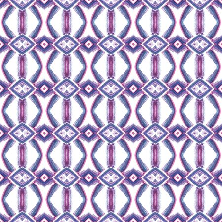 Tribal Art. Endless Repeat Painting.  Moroccan, Tunisian, Turkish, Arab, Ornament. Traditional Surface. Tribal Home Decor. Purple, Pink Watercolor. Chevron Print.
