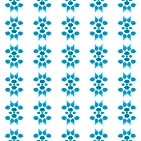 Chevron Geometric Hand Drawn Painted.  Spots, Ikat, Tie Dye, Batik Seamless Pattern.  Blue, Cyan, Turquoise Old Traditional Geo Carpet. Stripes Geometry Texture.