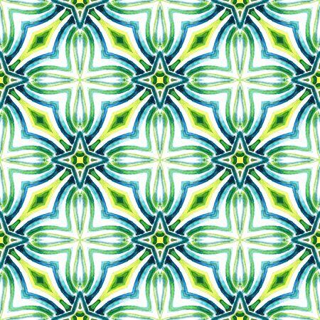 Watercolor Surface. Endless Repeat Painting.  Bohemian, Hippie, Boho, Gypsy Ornament. Geo Texture. Folk Vintage Linen. Blue, Green  Motif. Woven Art.