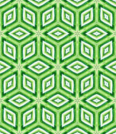 Geo Art. Endless Repeat Painting.  Talavera, Azulejos, Spain, Islam, Arabic Ornament. Traditional Surface. Ethnic Fabric. Blue, Green  Mosaic. Ornamental Texture.