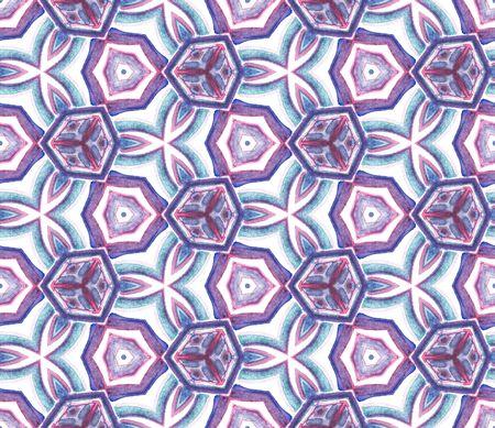 Geo Art. Endless Repeat Painting.  Mandala, Medallion, Floral, Flower Ornament. Watercolor Surface. Geo Tribal Embroidery. Purple, Pink Watercolor. Organic Mosaic. Zdjęcie Seryjne