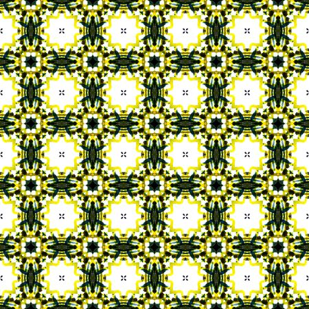 Tribal Texture. Hand Drawn Painted. Spanish, Talavera, Tunisian, Turkish Seamless Pattern. Geo Geometric. Folklore Folk Bed Linen. Yellow, Green Surface. Ornamental Motif.