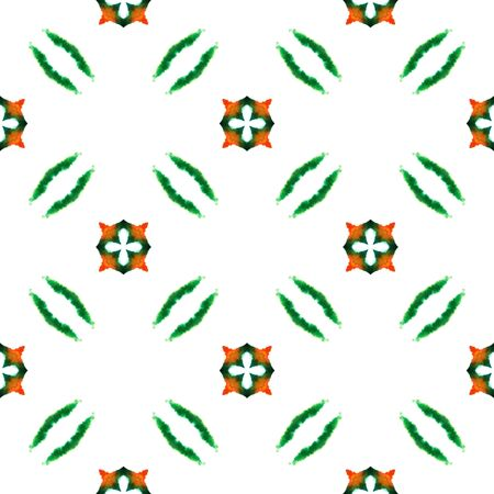Tribal Art. Endless Repeat Painting.  Pagan, Northern, Russian, Celtic Ornament. Ethnic Texture. Summer Bed Linen. Green, Orange Ornament. Geometry Motif.