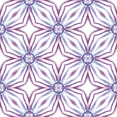 Ethnic Surface. Hand Drawn Painted. Boho, Gypsy, Mediterranean, South Seamless Pattern. Ethnic Surface. Native Old Bed Linen. Purple, Pink Tile. Organic Motif.