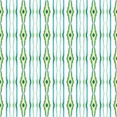 Watercolor Surface. Endless Repeat Painting.  Spots, Ikat, Tie Dye, Batik Ornament. Blue, Green, Lime, Mint Native Folklore Vintage Rug. Organic Geometry Print.
