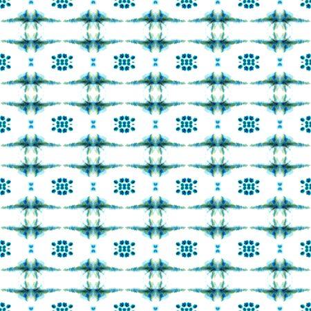 Tribal Texture. Hand Drawn Painted. Batik, Hand Drawn, Paint Texture Seamless Pattern. Blue, Cyan, Turquoise Summer Native Ancient Canvas. Herringbone Graphic Mosaic.