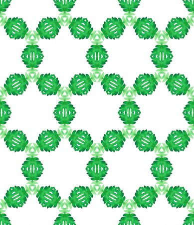Watercolor Surface. Endless Repeat Painting.  Ottoman, Islam, Orient, Spanish  Ornament. Modern Abstract. Folk Traditional Woven. Green, Mint,  Ornament. Geometric Art.
