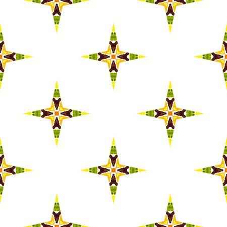 Chevron Geometric Hand Drawn Painted.  Ottoman, Islam, Orient, Spanish  Seamless Pattern.  Tribal Texture. Summer Ethnic Canvas. Green, Orange Texture. Medallion Texture.