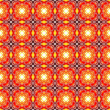 Tribal Art. Endless Repeat Painting.  Arab, Arabesque, East, Eastern Ornament. Modern Abstract. Folklore Native Wallpaper. Red, Orange Element. Ornamental Design.