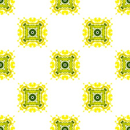 Tribal Texture. Hand Drawn Painted. Gypsy, Mediterranean, South, East Seamless Pattern. Ethnic Surface. Ancient Old Carpet. Yellow, Green Design. Geometrical Watercolor. Zdjęcie Seryjne
