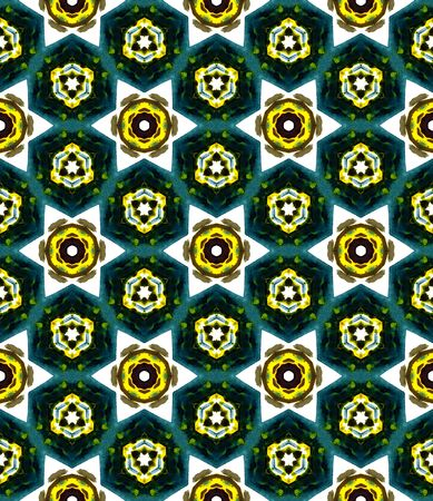 Traditional Graphic Hand Drawn Painted.  Talavera, Tunisian, Turkish, Arab Seamless Pattern. Traditional Surface. Old Vintage Fabric. Yellow, Green Element. Medallion Motif.
