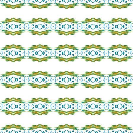 Chevron Geometric Hand Drawn Painted.  Baltic, Slavic, Pagan, Northern, Seamless Pattern.  Traditional Surface. Folk Textile. Blue, Green Ornament. Herringbone Tile.