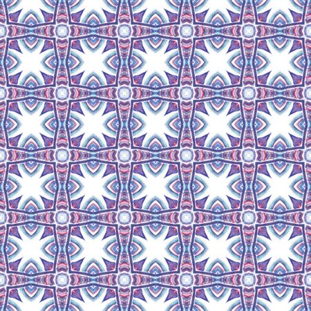 Geo Texture. Hand Drawn Painted. Talavera, Azulejos, Spain, Islam, Arabic Seamless Pattern. Geo Geometric. Ancient Textile. Purple, Pink Print. Ornamental Design. Zdjęcie Seryjne