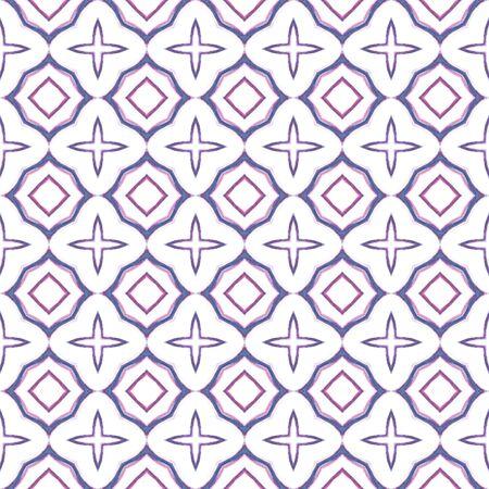 Geo Surface. Endless Repeat Painting.  Islam, Orient, Spanish, Talavera Ornament. Ethnic Surface. Geo Vintage Wallpaper. Purple, Pink Surface. Ornamental Mosaic.