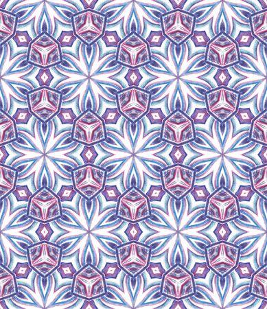 Geo Surface. Endless Repeat Painting.  Hippie, Boho, Gypsy, Mediterranean Ornament. Geo Geometric. Summer Folklore Wallpaper. Purple, Pink Art. Geometry Pattern. Zdjęcie Seryjne