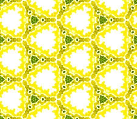 Geo Surface. Endless Repeat Painting.  Talavera, Azulejos, Portugal, Turkish Ornament. Geo Surface. Traditional Home Decor. Yellow, Green Watercolor. Organic Surface.