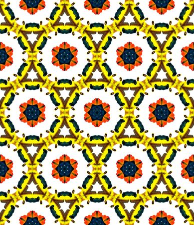 Geo Art. Endless Repeat Painting.  Indian, Aztec, Mexican, African,  Ornament. Geo Art. Geo Linen. Green, Orange Pattern. Ornamental Pattern.