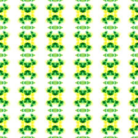 Traditional Graphic Hand Drawn Painted.  Hand Drawn, Paint Texture, Shibori Seamless Pattern. Yellow, Green Tribal Native Folk Fabric. Stripes Graphic Motif. Zdjęcie Seryjne