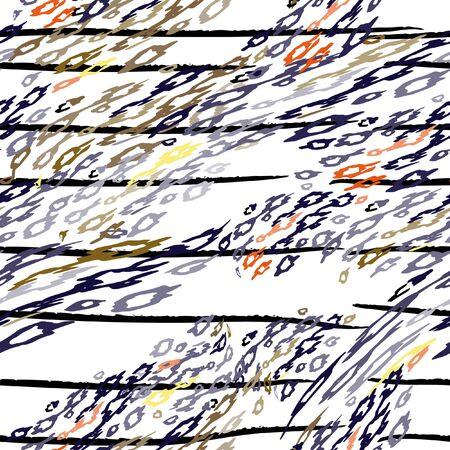 Leopard Print. Modern Stripes Motif. Black White Stripe on Tropical Animal Seamless Pattern. Exotic Summer Wildlife Print. Trending Seamless Pattern. Leopard Modern Endless Repeat Vector Background. Ilustracja
