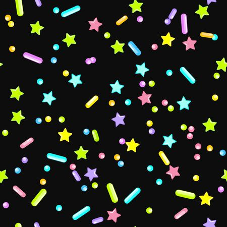 Sprinkle Candy. Sprinkles Grainy. Seamless Pattern. Sweet Confetti Background.  Candy Dessert Background. Design Invitation Holiday, Party, Birthday. Rainbow Party Design. Ilustracja