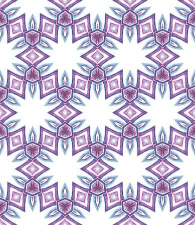 Ethnic Surface. Hand Drawn Painted. Azulejo, Portuguese, Spain, Islam, Arabic  Seamless Pattern. Chevron Geometric. Folk Home Decor. Purple, Pink Art. Chevron Art.